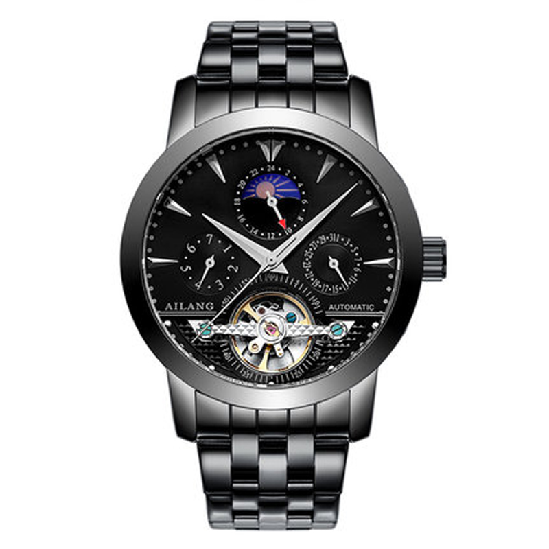 Real branded men's AILANG brand car wind waterproof leather strap auto tourbillon mechanical watch black dial male fashion kinyued brand men self wind waterproof stainless steel strap automatic mechanical male black dial fashion tourbillon watch