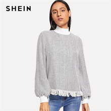 422fa4e139ee SHEIN Grey Preppy Elegant Fringe Detail Mock Neck Bishop Sleeve Fashion  Sweatshirt 2018 Autumn Casual Women Pullover Sweatshirts