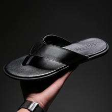 2018 mens flip flops genuine leather Sandals Male Summer Beach Slippers breathable fashion shoes brand ruideng high quality