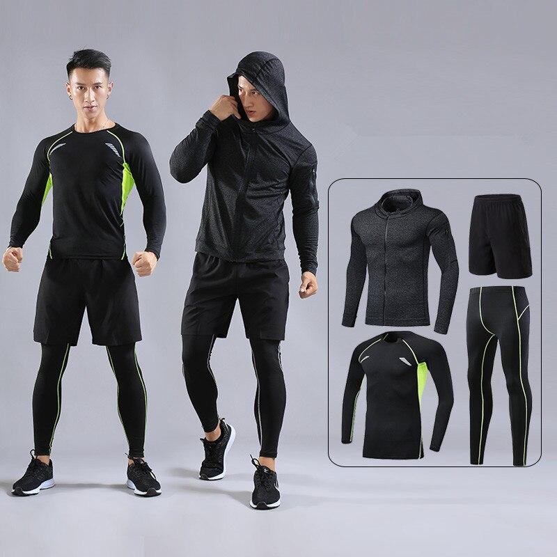Men Sport Kit Running Sets Shirts Leggings Jackets Basketball Soccer Football Training Pants Fitness Tights Shorts