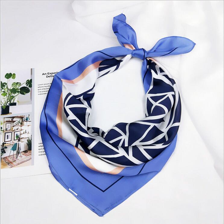 Small Chiffon Ribbon Neck Scarf Women Striped Printed Necktie Scarf Necklace Ladies Kerchief Head Infinity Scarves 70*70cm