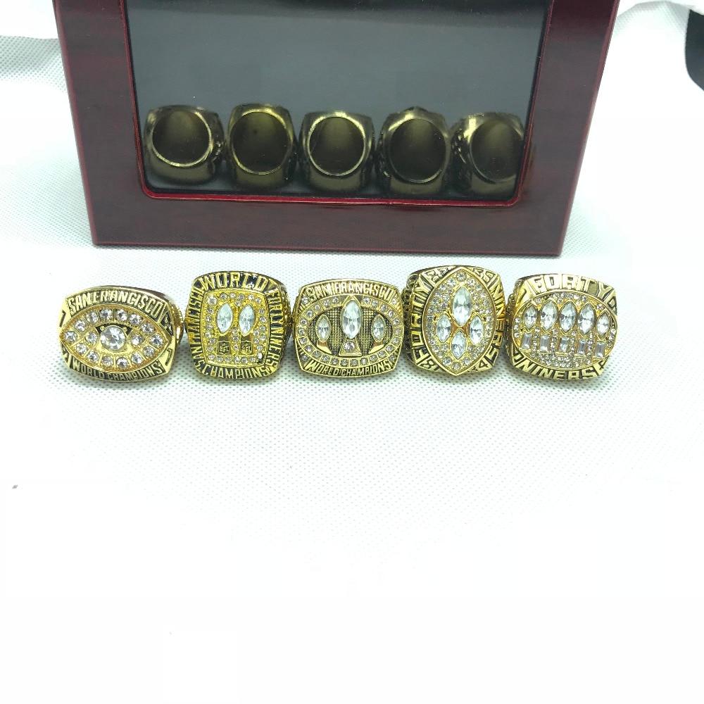 где купить 5pcs zinc alloy 1981/1984/1988/1989/1994 San Francisco The 49ers Championship Rings set With Wooden Box дешево