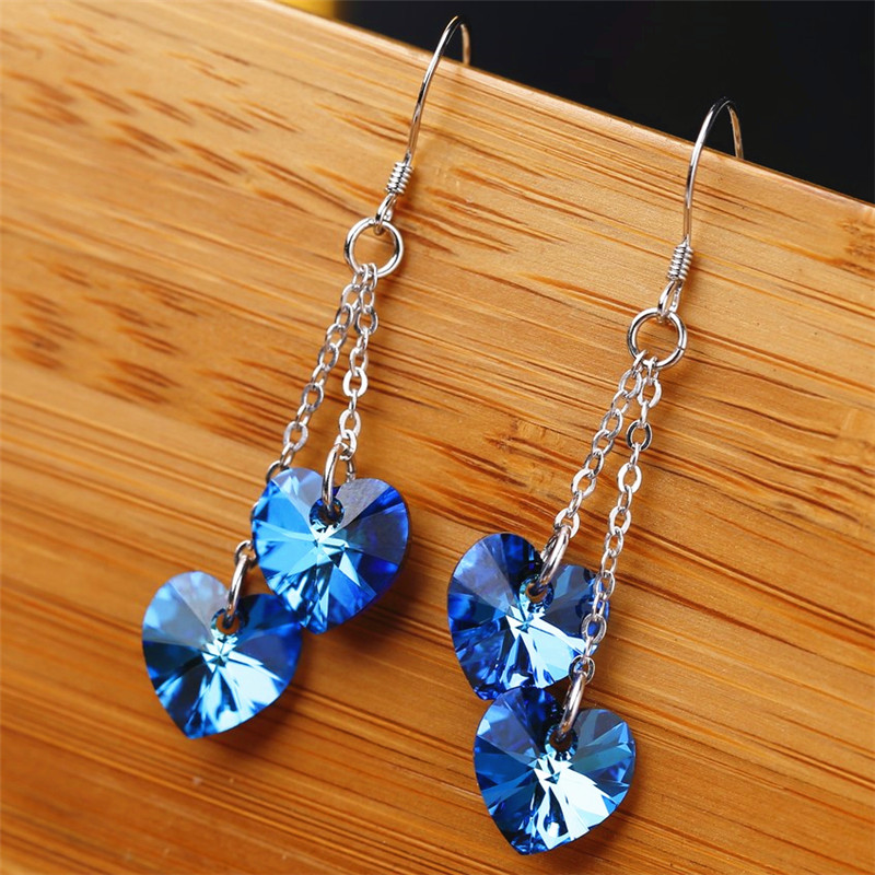 SWAN High Quality crystal 925 sterling silver Tassel Earrings Elegant Jewelry Heart Earrings Jewelery Women Girls Christmas Gift