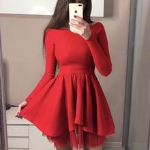 d85192a4960bc Ucuz mezuniyet Elbiseleri 2019 Uzun Kollu Siyah Kırmızı Pembe Popüler Genç  Kısa A-line Birinci mezuniyet elbise mezuniyet elbise