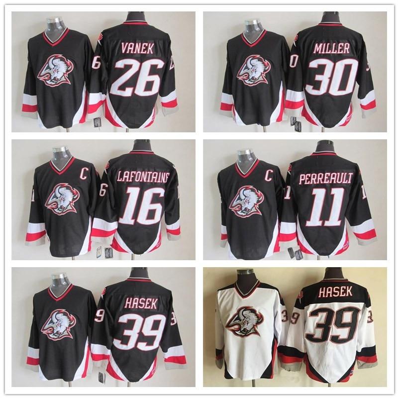 Throwback 16 Pat Lafontaine 39 Dominik Hasek 26 Thomas Vanek 30 Ryan Miller  11 Gilbert Perreault Vintage Ice Hockey Jerseys Sale 04f8759fbc1