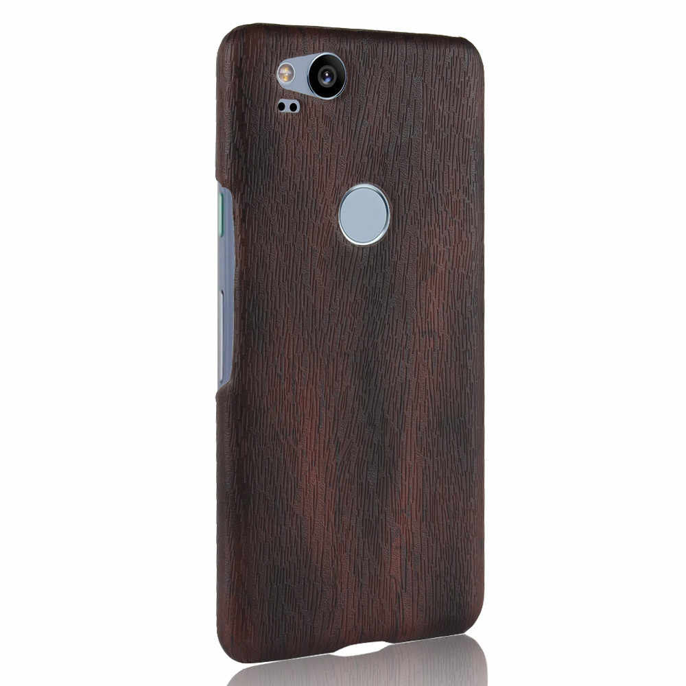 new product bef12 8aa0b Luxury Shockproof PU Leather Hard Thin Slim Back Cover Case For Google  Pixel 2 / Google Pixel 2 XL Wood Protective Phone Cases