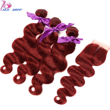 Kiss Mee Burgundy Human Hair Bundles With Closure 99J Red Body Wave 3 Brazilian Weave Remy