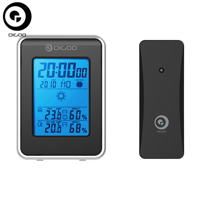 Digoo DG-TH1981 Thermometer Hygrometer With Sensor Blue Backlit Weather Station Hygrometer Thermometer Outdoor Forecast Clock hongyang t18040 1 5 lcd weather forecast thermometer hygrometer blue black