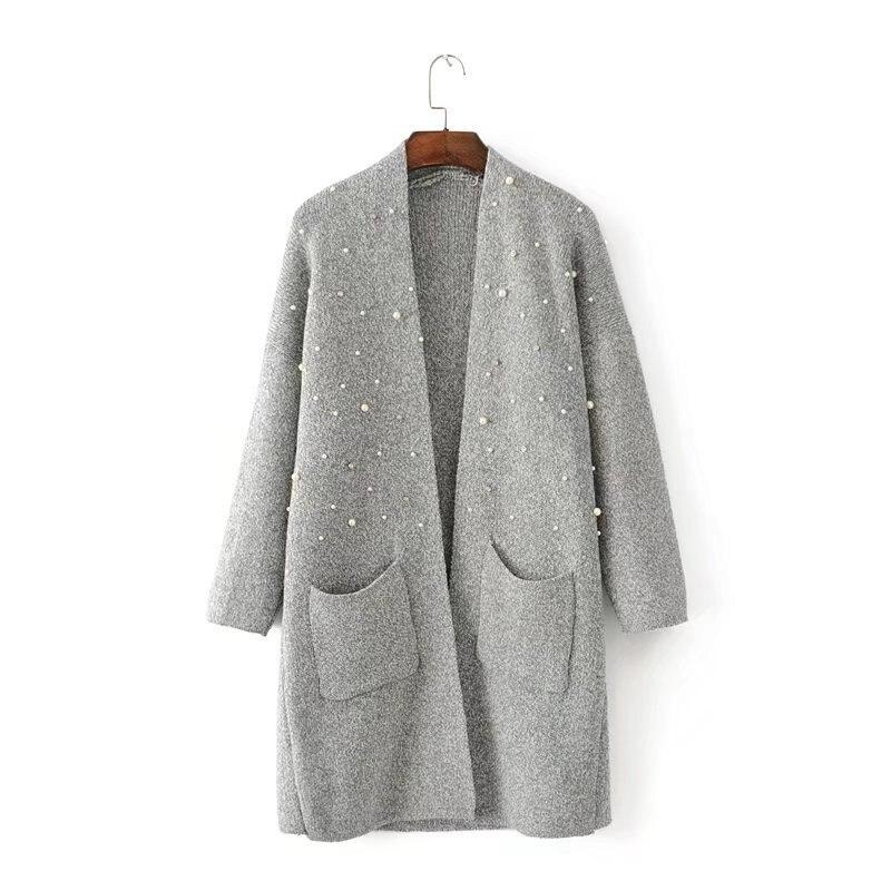 Long pearls beading Cardigan Women Autumn Winter Long Sleeve Knitwear Korean Big Pockets Sweater Knitted Cardigans Oversized