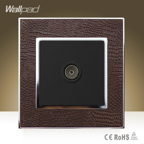 Module Wallpad Hotel TV Television Socket Goats Brown Leather Frame TV Jack Port Wall Socket Free Shipping wallpad luxury double 13 a uk switched socket goats brown leather 1 gang switch and 13a wall socket with neon free shipping
