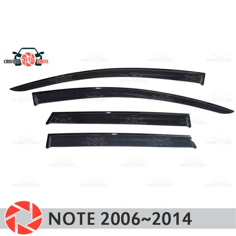 Deflector de ventana para Nissan Note 2006 ~ 2014 deflector de lluvia protección de suciedad accesorios de decoración de diseño de coche moldeado