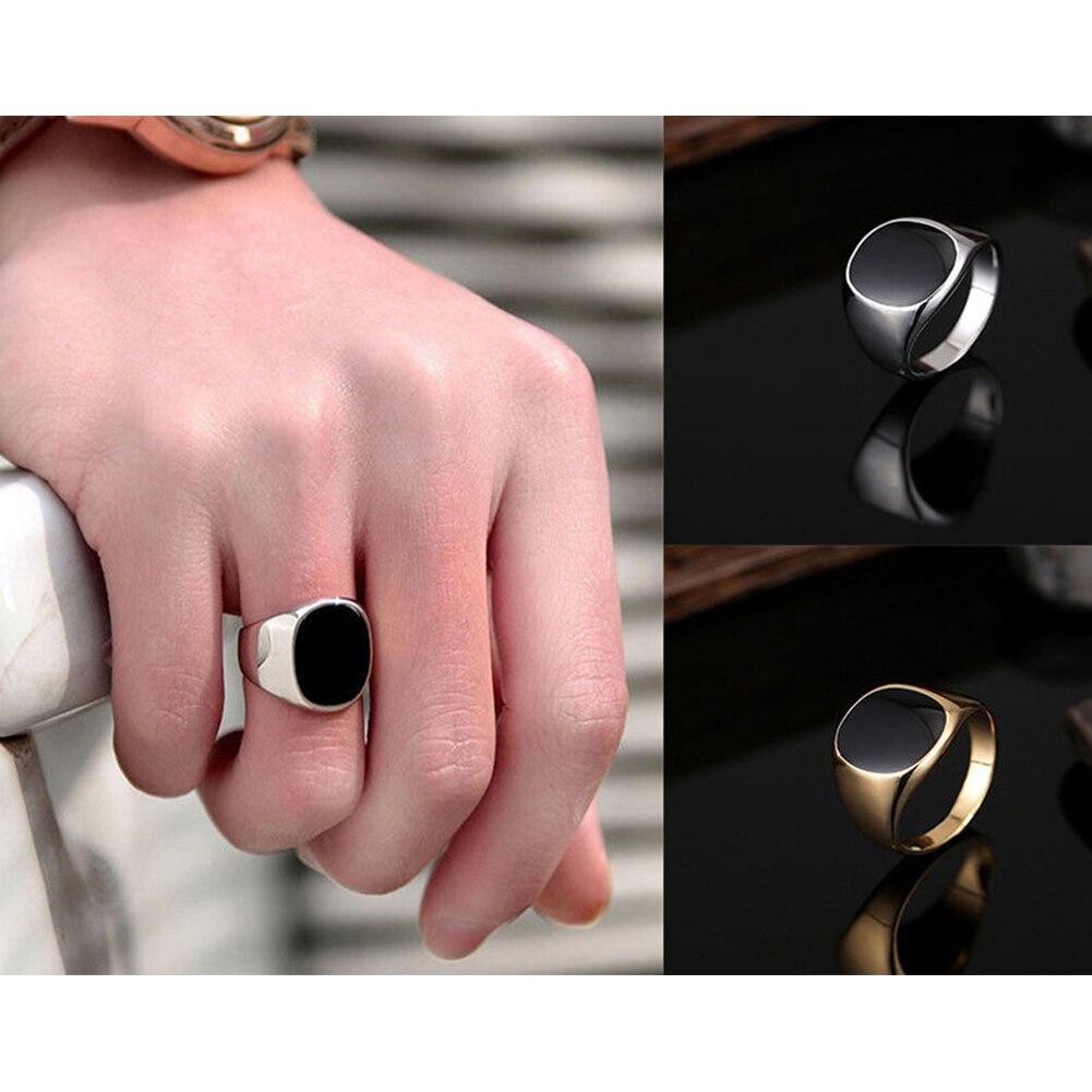 Solid Polished Stainless Steel Band Biker Men Signet Ring Finger ...