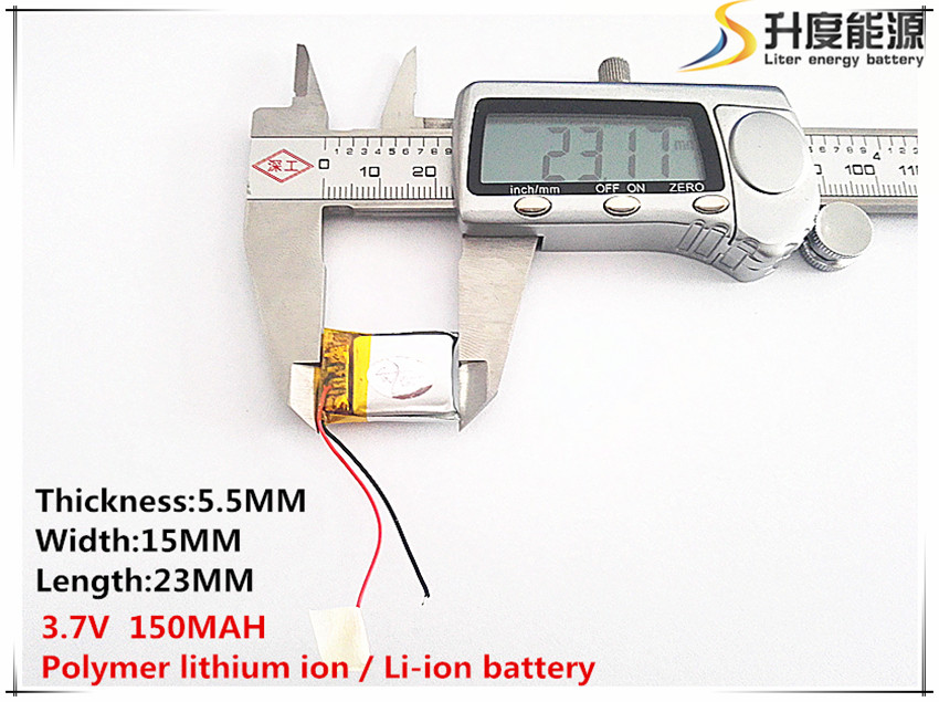 1pcs [SD] 3.7V,150mAH,[551523] Polymer lithium ion  Li-ion battery for TOY,POWER BANK,GPS,mp3,mp4,cell phone,speaker