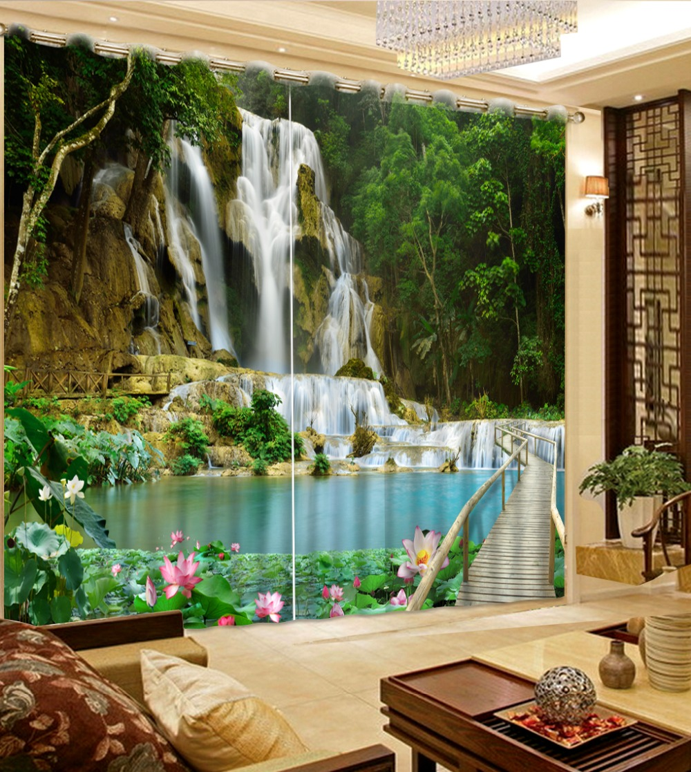 Modern Photo Curtain Beautiful Forest Waterfall Landscape Curtains Living  Room Bedrroom 3D Kids Curtain(China