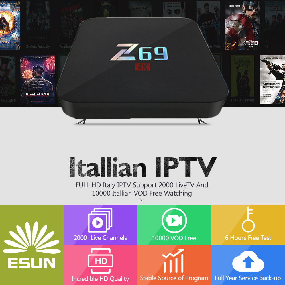 Z69 With 1 Year Italy IPTV Box 3G/32G Amlogic S905 Italy IPTV EPG 4000+Live+VOD configured Europe Albania ex-yu XXX channels BOX a95x pro voice control with 1 year italy iptv box 2g 16g italy iptv epg 4000 live vod configured europe albania ex yu xxx