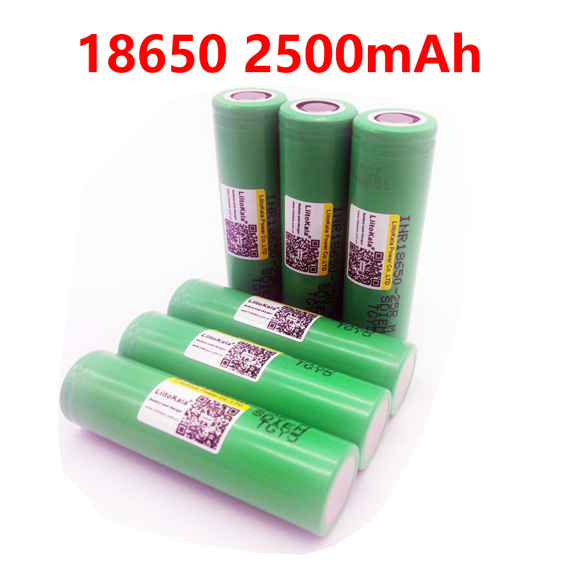 6 PCS <font><b>LiitoKala</b></font> Original <font><b>18650</b></font> <font><b>25R</b></font> M INR1865025R 5A discharge lithium batteries, 2500mAh electronic cigarette Power Battery image