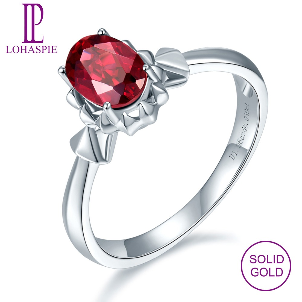 LP Natural Gemstone Rhodolite Garnet 1.06 CT Diamond 18K White Gold Trendy Engagement Ring Fine Jewelry For Women Ladies Party