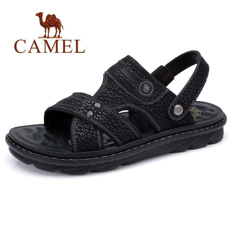 גמלים לנשימה עור אמיתי סנדלי גברים נוח נעליים יומיומיות רך אלסטי Footbed כפול לובש גמיש איש דירות