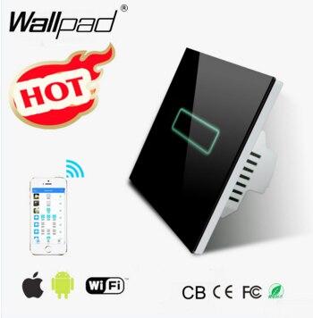 Wallpad noir cristal verre 110 ~ 250 V EU UK Standard 1 Gang 2 voies Wifi sans fil télécommande interrupteur mural pas besoin de passerelle