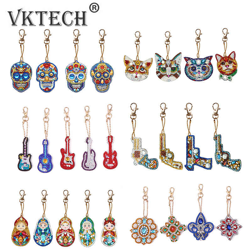 4-6pcs DIY Diamond Painting Keychain Pendant Full Drill Special Shaped Diamond Embroidery Cross Stitch Women Bag Decoration