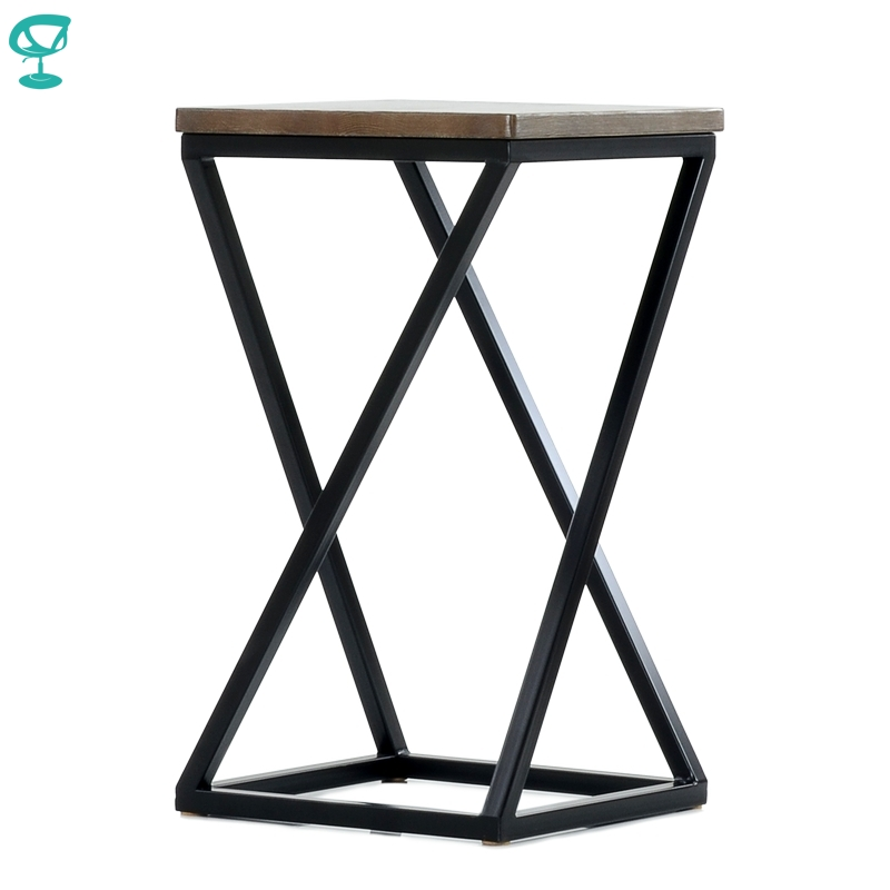 N304BlBrWood Barneo N-304 High Black Metal Brown Wood Seat Interior Stool Bar Chair Kitchen Furniture Free Shipping In Russia