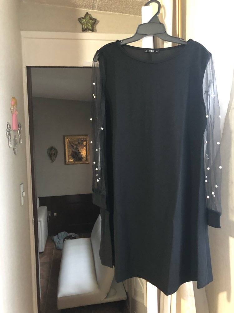 Elegant Womens Dresses Pearl Beading Mesh Sleeve Tunic Dress Autumn Black Boat Neck Long Sleeve A Line Dress photo review