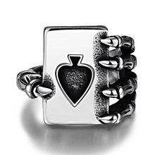 cf672ce270 Vintage Playing Card Design Rings For Men Silver Color Tone anillos hombre  Titanium Steel Men Gothic Skull Hand Claw Poker ring