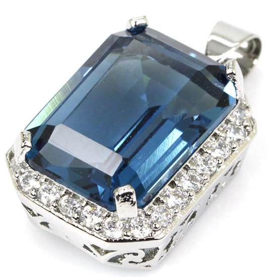 Big 18x13mm Created Rectangle London Blue Topaz CZ Wedding Silver Pendant 28x15mm