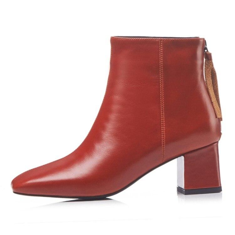 MLJUESE 2019 ผู้หญิงข้อเท้ารองเท้าหนังวัวสีแดงไวน์ฤดูหนาวตุ๊กตาสั้น fringe รองเท้าส้นสูงรองเท้าผู้หญิงขนาด 34 42-ใน รองเท้าบูทหุ้มข้อ จาก รองเท้า บน   3