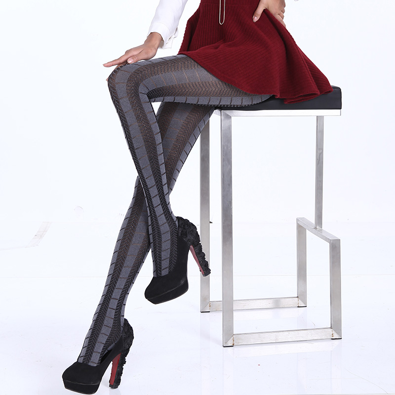 Hot Spring Autumn Tights 280 Denier Not Opaque Pattern Jacquard Velvet Pantyhose, Sexy and High Elasticity, Heather Grey Series