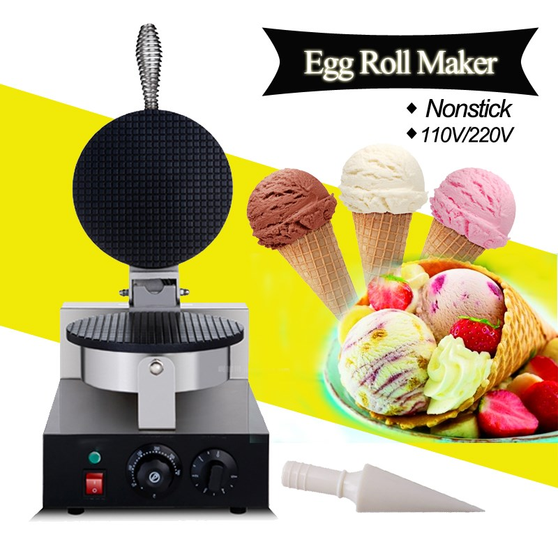 Warmtoo US Plug 110V/220V Electric Commercial Nonstick Electric Ice Cream Cone Machine Egg Roll Maker DIY Home Cooking