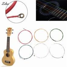 Zebra 6pcs/Set Rainbow Multi Color Acoustic Guitar Strings for Musical Instruments Electric Bass Guitar Parts Accessories