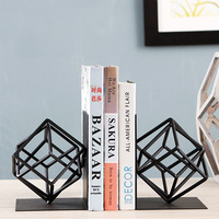 Iron geometry bookend book stand for table decoration book shelf holder