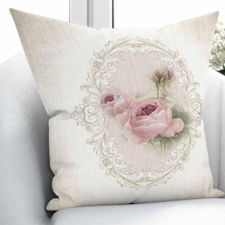 Else Cream Floor on Retro Pink Roses Vintage Design 3D Print Throw Pillow Case Cushion Cover Square Hidden Zipper 45x45cm