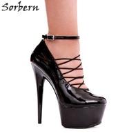 Sorbern Goth Shoes For Women Size 12 Gladiator Korean Platform Shoes Crossdressed Heels Exotic Heels Red/White Spike Heels 15Cm