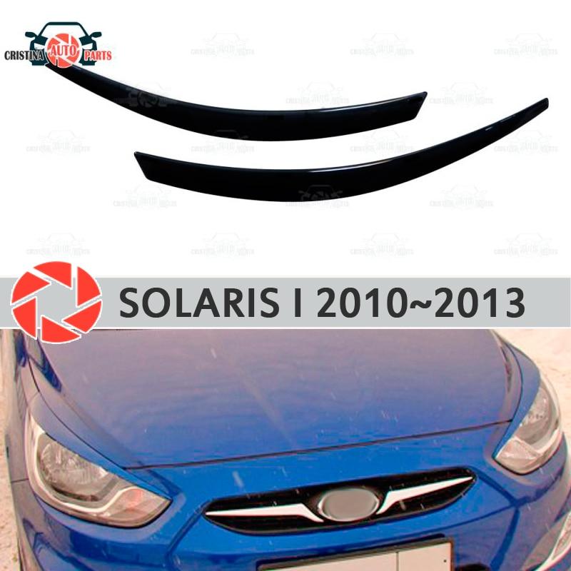 Eyebrows for Hyundai Solaris 2010-2013 for headlights cilia eyelash plastic moldings decoration trim car styling molding