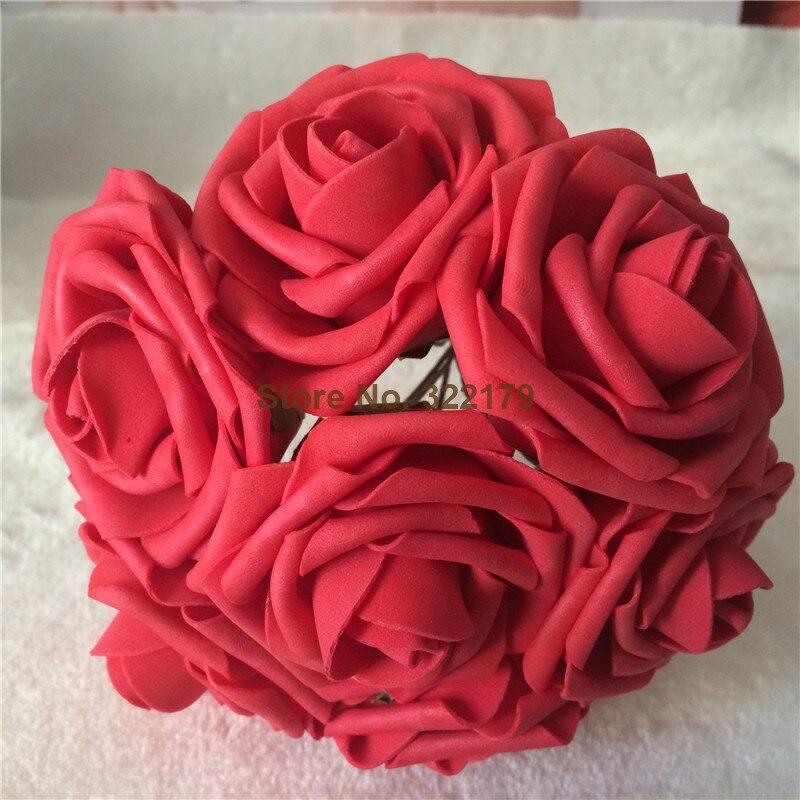 100 Roses rouges fausses fleurs mariage fournitures mousse Roses rouge Table de mariage pièce maîtresse nuptiale douche décor LNPE036