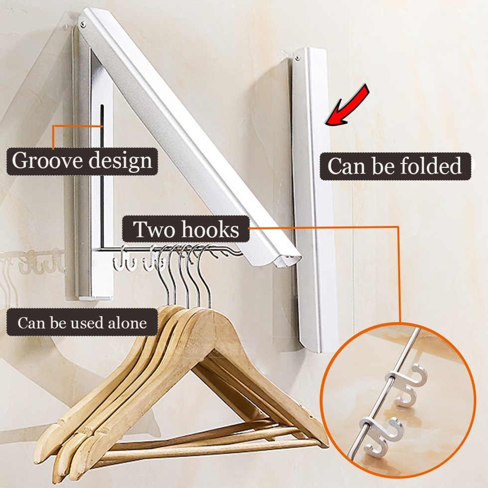 Wall Mounted Retractable Clothes Drying Rack Folding Collapsible Triangular Cloth Storage Laundry Room Indoor Outdoor Hang Rod