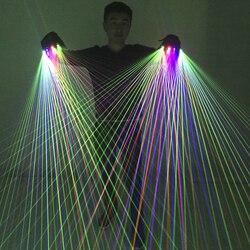 2 ב 1 רב קו RGB לייזר כפפות With2 ירוק 1 אדום 1 כחול עבור LED זוהר תלבושות להראות