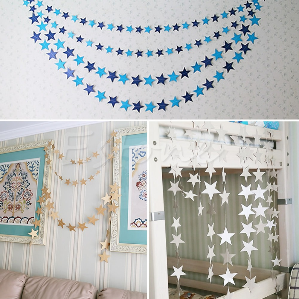 Colorful Star-Shape Hanging Paper Garlands Flora String Party Home Holiday Decoration