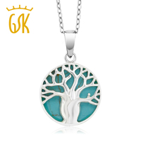 0 5 925 Sterling Silver Simulated Turquoise Tree Locket Pendant With 18 Chain
