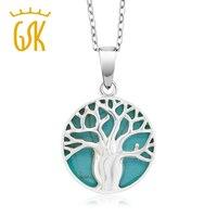 Gemstoneking Семья дерево изделия стерлингового серебра 925 имитация бирюзы Древо жизни медальон кулон Цепочки и ожерелья для Для женщин
