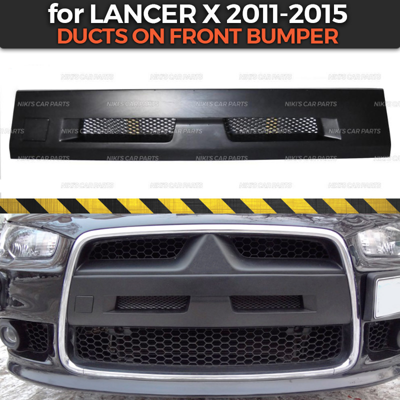 Ducts for Mitsubishi Lancer X 2011 2015 on front bumper air intake with mesh ABS plastic