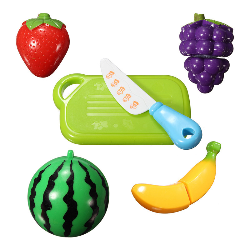6PCS Fun Cut Fruit Kitchen Kids Cutting Pieces Role Play House Toy Children Funny Colourful Plastic