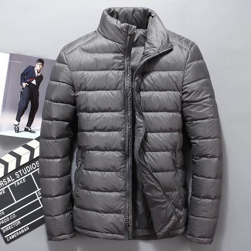 Winter Men's White Duck Down Jacket Men Short Stand Collar Down Coat High Quality Soft Down Parkas Puffer Overcoat Male JK-68005