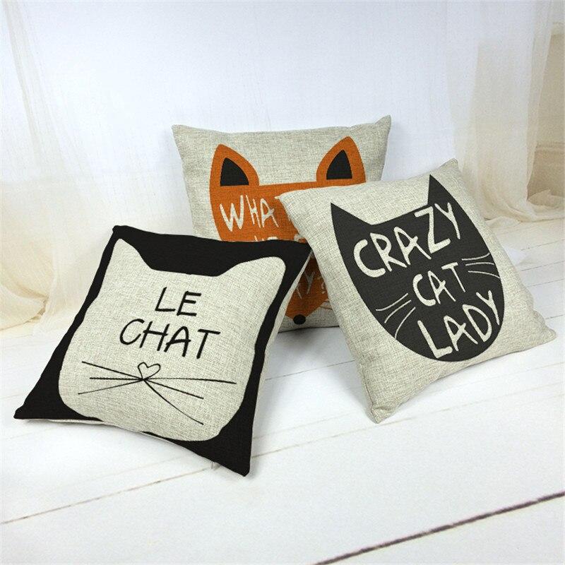 Crazy Cat Lady Home Decorative Pillow Cozy Couch Cushion 45x45cm Cartoon Cat Printed Pillows Cotton Linen Pillowcase No Insert