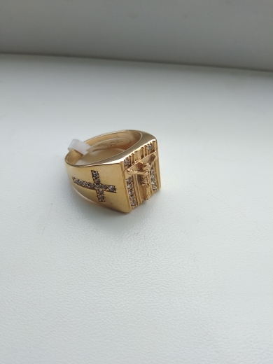 Jesus Cross White CZ Gold Ring