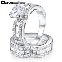 Davieslee Lady Womens Heart Wedding Band Ring Set White Yellow Gold Filled Paved CZ Gold Silver Tone LKRM23