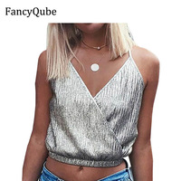FancyQube 2017 Summer Bralette Crop Top Sexy Silver Cami Camisole Casual Women Tops Sexy Bronzing Sequin
