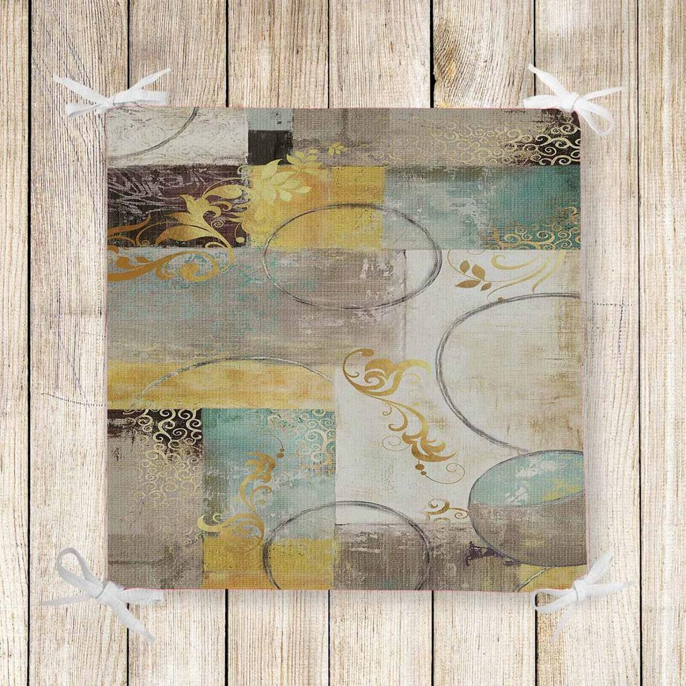 Else Yellow Gray Green Retro Floral Patchwork  Chair Pad Seat Cushion Soft Memory Foam Full Lenght Ties Non Slip Washable Zipper